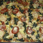 Lachs-Spinat-Pizza